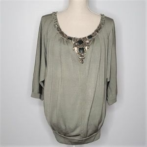ESCADA Sage Green Silk Blend Jeweled  Pullover M